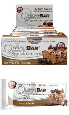 Quest Bars Chocolate Chip Cookie DoughVW.QUEST CHOCHIP CD BX.12 BARS<br>