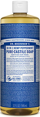 Dr. Bronners Liquid Pure Castile Soap Peppermint 32 oz.VW.ORGANIC PPRMNT SOAP.32.LIQ<br>