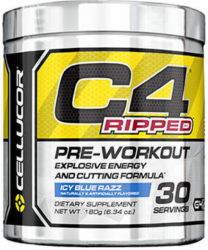 Cellucor C4 Ripped Pre Workout Icy Blue Razz 6.34 oz. 6 oz. Powder