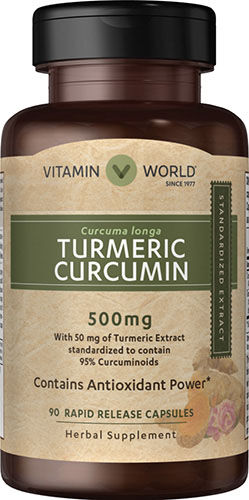 Vitamin World Turmeric Curcumin 500 mg. 90 Capsules