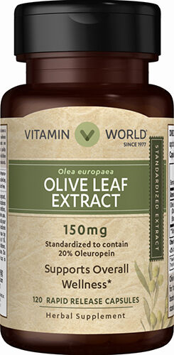 Vitamin World Olive Leaf Extract 150 mg. 120 Capsules