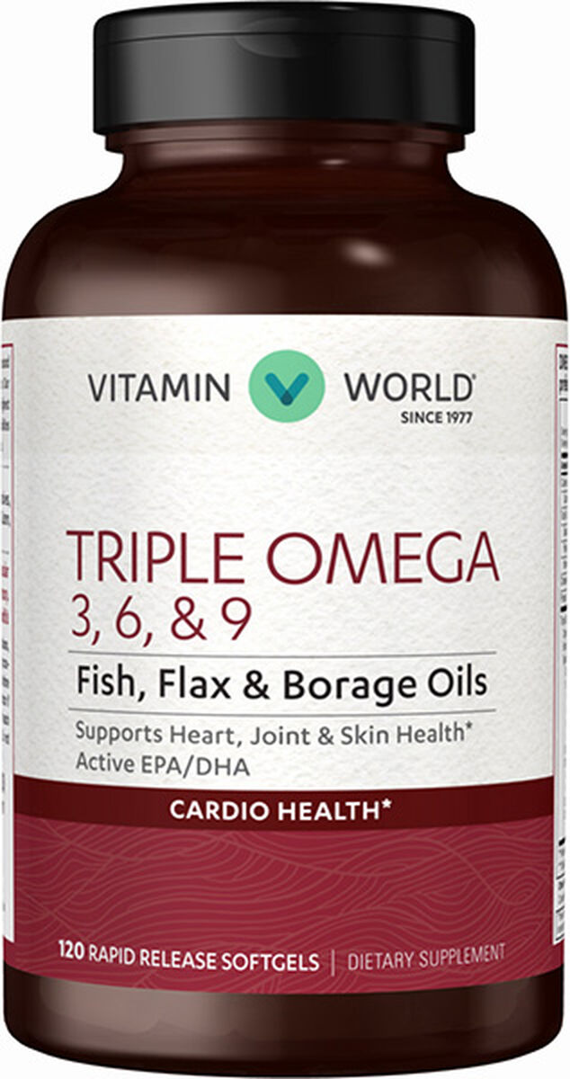 Triple Omega 3 6 9 120 Softgels Fish Oil Borage Oil Flax Seed