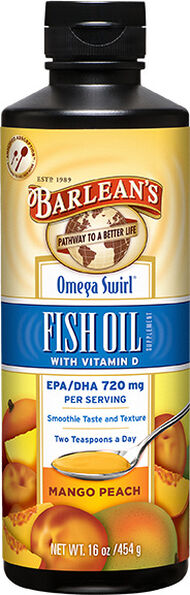 Barlean's Omega Swirl Fish Oil with Vitamin D 16 oz. Liquid 900MG