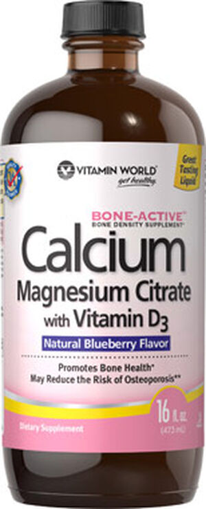 Vitamin World Calcium Magnesium Citrate with Vitamin D3 16 oz. Liquid Blueberry