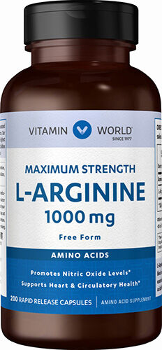 Vitamin World L-Arginine Free Form 200 Capsules 1000mg.
