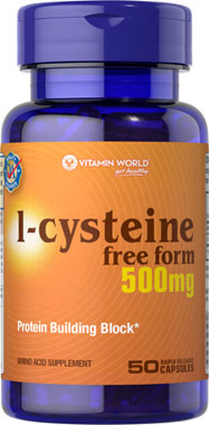 Vitamin World L-Cysteine 500 mg. 50 Capsules