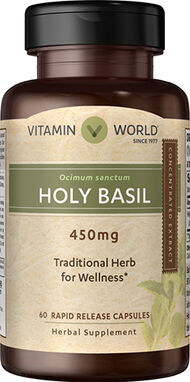 Vitamin World Holy Basil 450 mg. 60 Capsules
