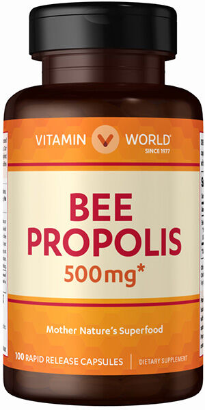 Vitamin World Bee Propolis 500 mg. 100 Capsules 500mg