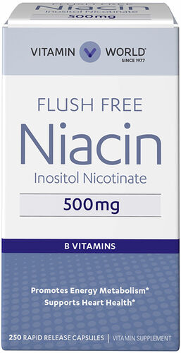 Vitamin World Niacin Flush Free 500 mg. 250 Capsules