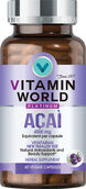 Bottle of Vitamin World's premium Platinum acai berry 4000 mg supplement vegetarian capsules to protect your skin and support healthy aging.  60 Capsules.