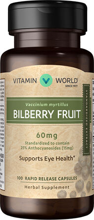 Vitamin World Bilberry Standardized Extract 60 mg. 100 Capsules