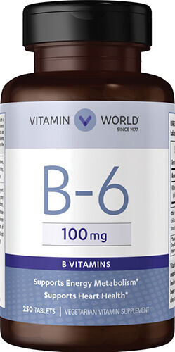 Vitamin World Vitamin B-6 100 mg. 250 Tablets