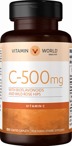 Vitamin World Vitamin C 500 mg. with Bioflavonoids and Wild Rose Hips 250 Caplets 500mg.