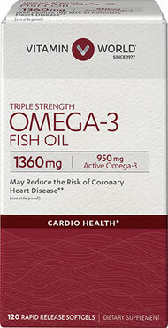Vitamin World Triple Strength Omega-3 Fish Oil 1360 mg. 120 Softgels 1360mg.