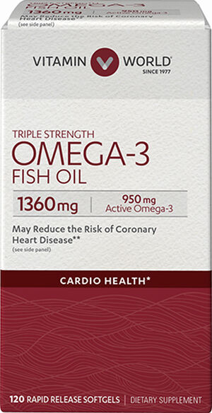 Vitamin World Triple Strength Omega-3 Fish Oil 1360 mg. 120 Softgels 1360mg