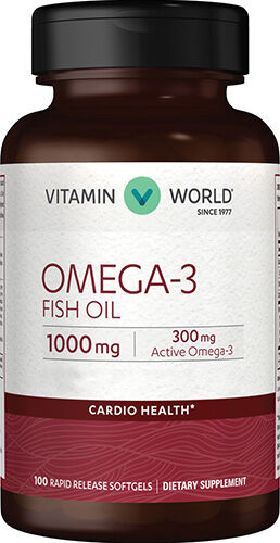 Omega-3 Fish Oil 1000 mg. Supplement 100 Softgels Vitamin World