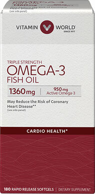 Vitamin World Triple Strength Omega-3 Fish Oil 1360 mg 180 Softgels 1360mg.