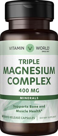 Vitamin World Triple Magnesium Complex 400 mg. 60 Capsules