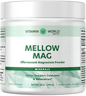 Vitamin World Mellow Mag Effervescent Magnesium Powder 350 mg. 12 oz. Powder Cherry