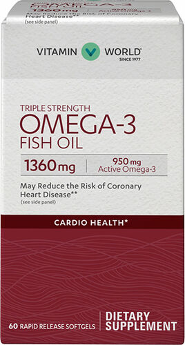 Vitamin World Triple Strength Omega-3 Fish Oil 1360 mg 60 softgels