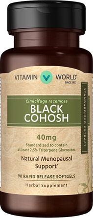 Vitamin World Black Cohosh Standardized Extract 40mg 40 mg. 90 Softgels