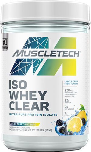 MuscleTech Iso Whey Clear Ultra-Pure Protein Isolate Lemon Berry Blizzard