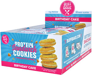 Protein Sandwich Cookies Birthday Cake, , hi-res
