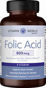 Vitamin World Folic Acid 800 mcg. 250 Capsules