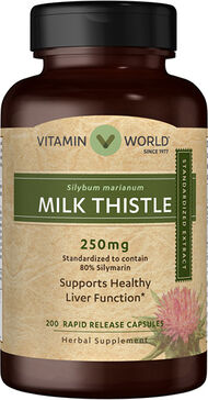 Vitamin World Milk Thistle (Silymarin) Standardized Extract 250mg 200 Capsules 250mg