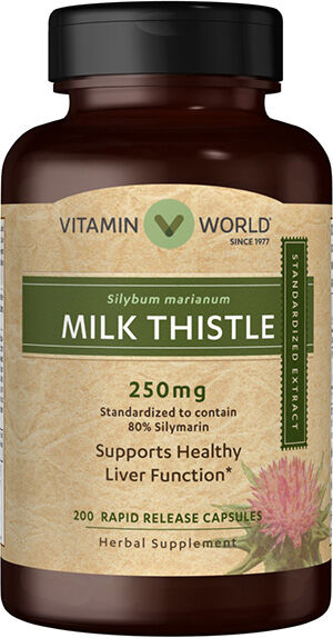 Vitamin World Milk Thistle (Silymarin) Standardized Extract 250mg 200 Capsules 250mg.