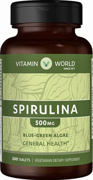 Vitamin World Spirulina Tablets 500mg 200 Tablets 500mg.