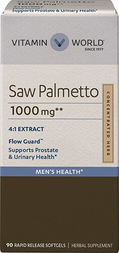 Vitamin World Saw Palmetto 1000 mg. 90 Softgels Berry of the Saw Palmetto Tree extract