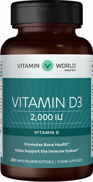 Vitamin World Vitamin D3 2000 IU 250 Softgels 2000IU