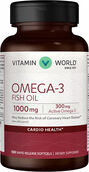 Vitamin World Omega-3 Fish Oil 1000 mg. 100 Softgels 1000mg.