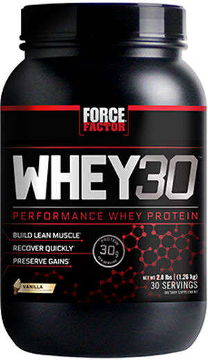 Force Factor Whey30 Performance Whey Protein 2.8 lbs. Vanilla