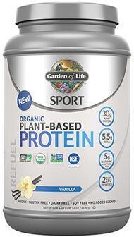 Sport Organic Plant-Based Protein Vanilla 1.14 lbs., , hi-res