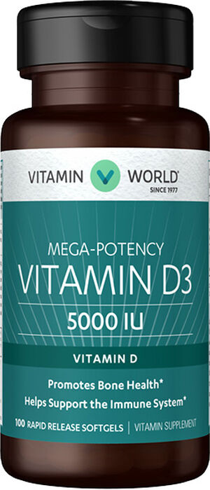 Vitamin D3 5000 IU, 100, hi-res