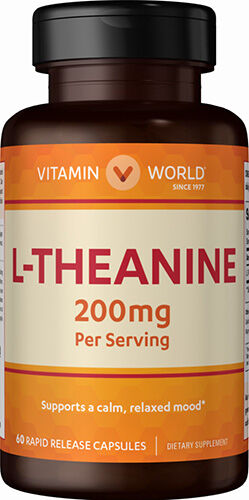 Vitamin World L-Theanine 200 mg. 60 Capsules