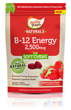 Healthy Delights Naturals Vitamin B-12 Energy Chews 2500 mcg. 30 Chews Strawberry Burst