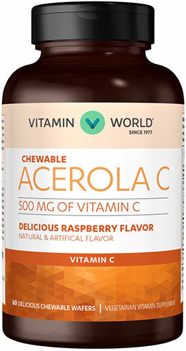 Vitamin World Acerola Vitamin C 500 mg. Chewable 60 Chewables Raspberry
