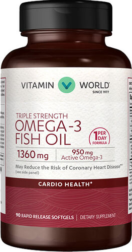 Vitamin World Triple Strength Omega-3 Fish Oil 90 Softgels 950mg.