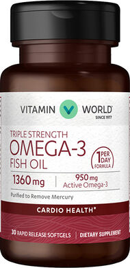 Vitamin World Triple Strength Omega-3 Fish Oil 1360 mg. 30 Softgels
