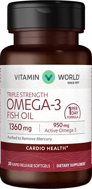 Triple Strength Omega-3 Fish Oil 1360mg, 30, hi-res