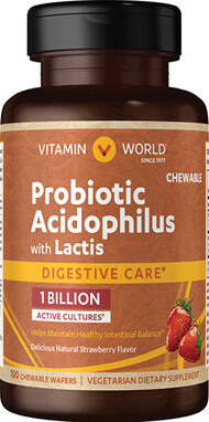 Vitamin World Probiotic Acidophilus with Lactis 100 Wafers Strawberry