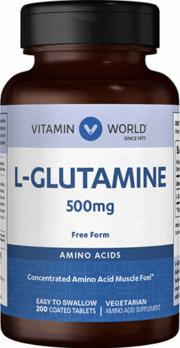 Vitamin World L-Glutamine 500 mg. 200 Tablets