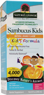 Nature's Answer Sambucus Kids 4000 mg. 8 oz. Liquid Orange Black Elderberry extract