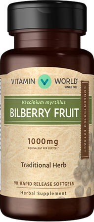 Vitamin World Bilberry 1000 mg. 90 Softgels