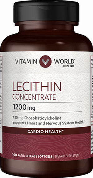 Vitamin World Lecithin Concentrate 1200 mg. 100 Softgels