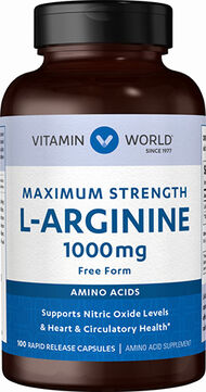 Vitamin World L-Arginine 1000 mg Caps 1000 mg. 100 Capsules