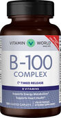 Vitamin World Mega B-100® Complex Timed Release 100 mg. 100 Caplets